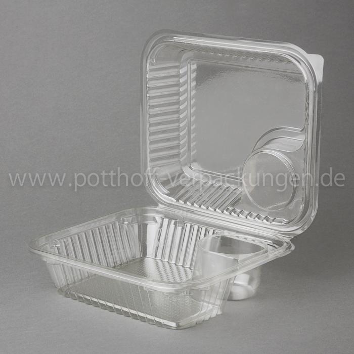 Salatschale mit anhängendem Deckel, klar, mit Dressingfach 1.500ccm, 220mmX130mmX90mm Image